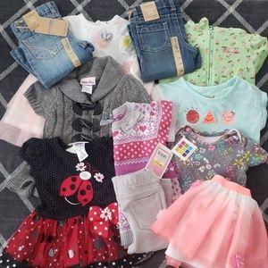 11 Piece NEW 12 Month Girl Clothes 6 Oufit Bundle